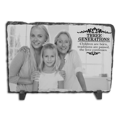 Personalised Three Generations Family Rock Slate Photo Frame - Rectangle Large